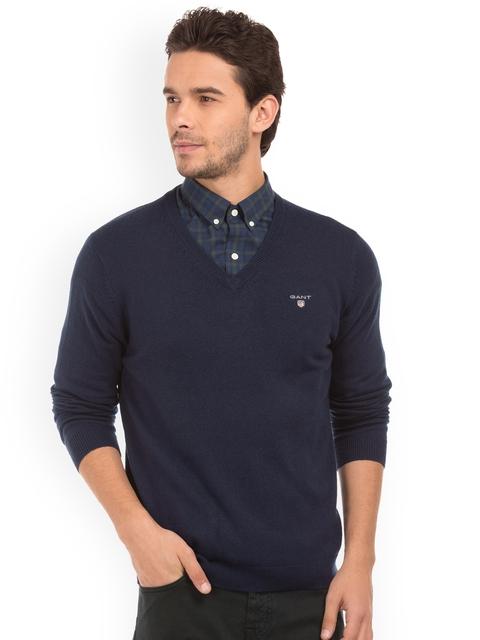 GANT Men Blue Solid Pullover