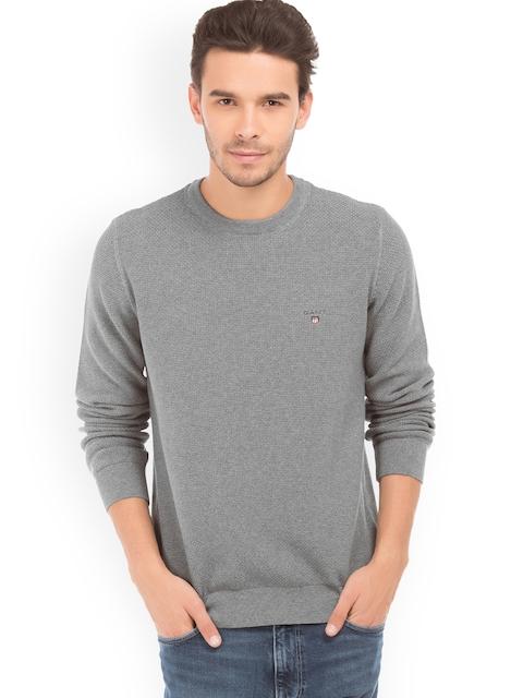 GANT Men Grey Solid Pullover