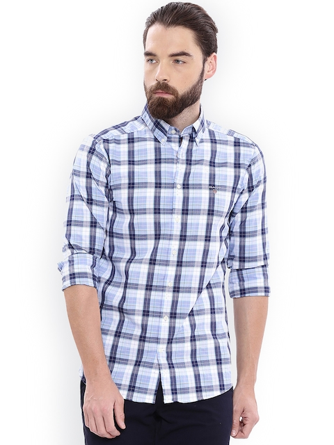 GANT Men Blue Regular Fit Checked Casual Shirt