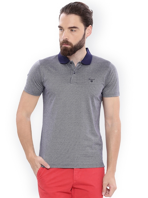 GANT Men Blue Self Design Polo Collar T-shirt