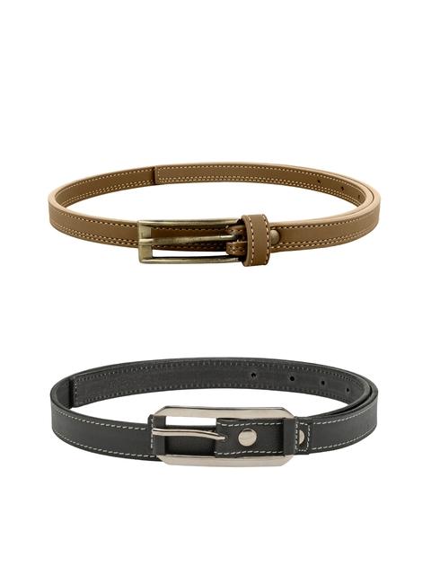 Scarleti Women Grey & Tan Solid Belt