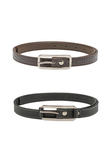 Scarleti Women Black & Brown Solid Belt