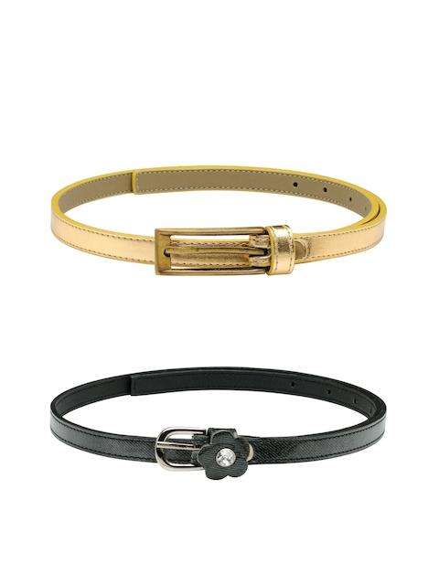 Scarleti Women Black & Gold-Toned Solid Belt