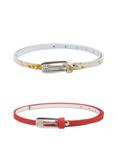 Scarleti Women Red & White Printed Belt