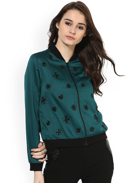 Kazo Women Teal Green Embellished Bomber