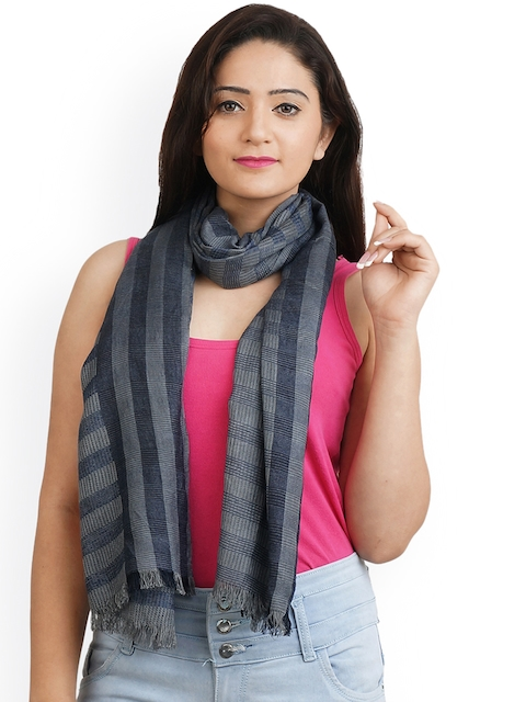 Anekaant Women Grey Striped Stole