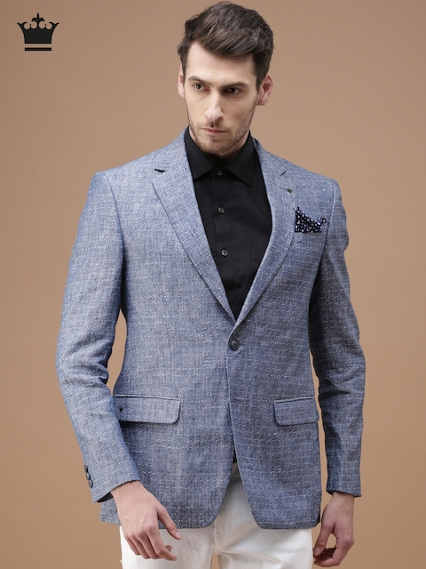 Louis Philippe Blue Linen Single-Breasted Formal Blazer