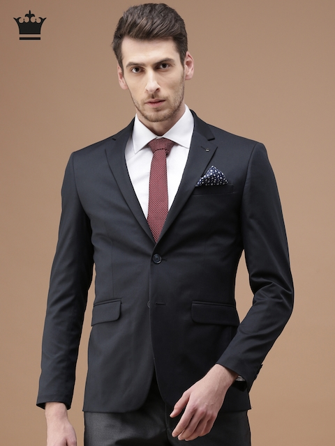 Louis Philippe Men Navy Milano Slim Fit Single-Breasted Formal Blazer