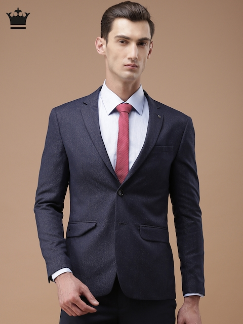 Louis Philippe Navy Milano Fit Single-Breasted Casual Blazer