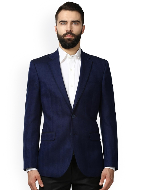 Raymond Men Navy Blue Solid Single Breasted Formal Blazer