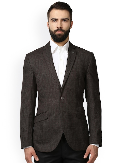 Raymond Men Brown Solid Single Breasted Formal Blazer