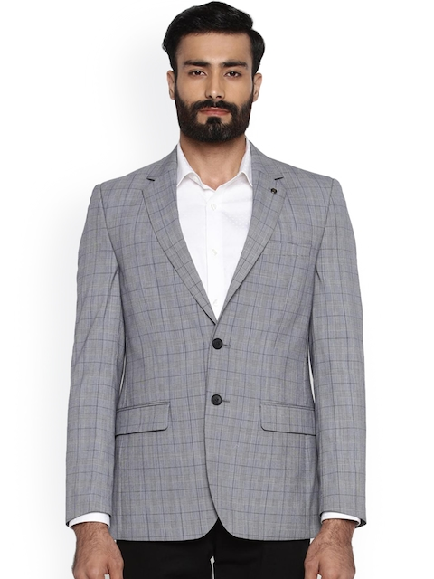 Raymond Grey Regular Fit Single-Breasted Checked Blazer