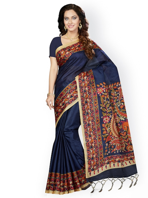 Ishin Blue Art Silk Printed Bhagalpuri Saree