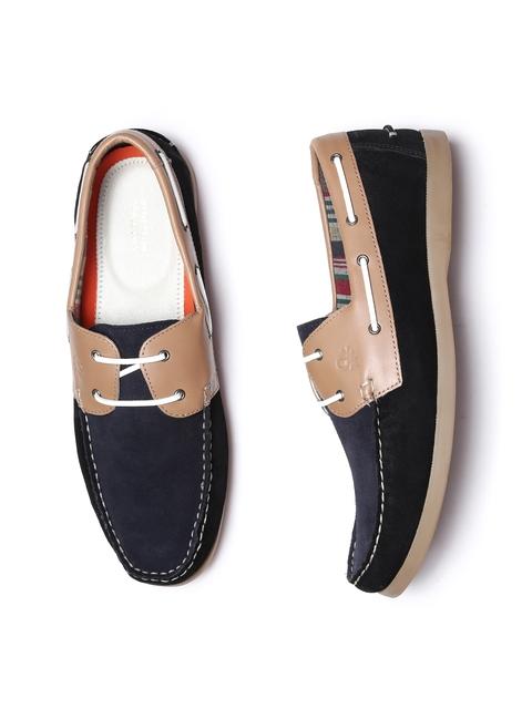United Colors of Benetton Men Black & Beige Boat Shoes