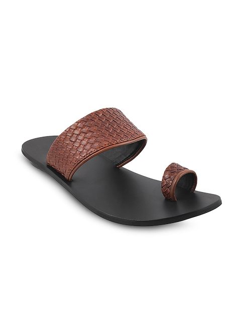 Mochi Men Brown Comfort Leather Sandals