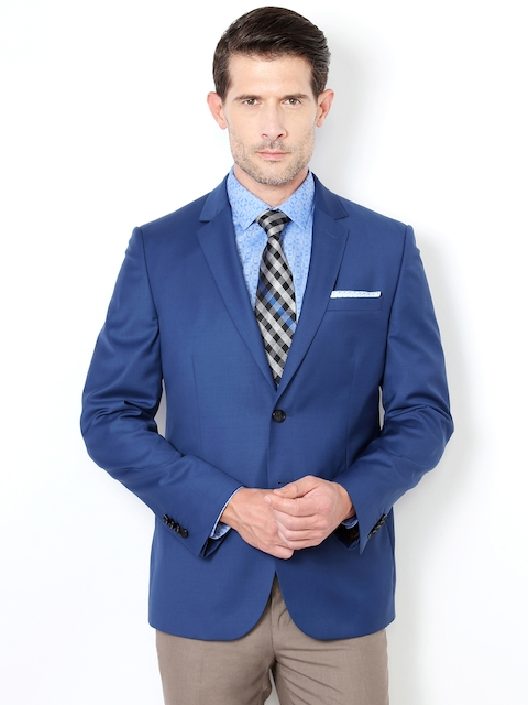Van Heusen Blue Single-Breasted Slim Fit Woollen Formal Blazer
