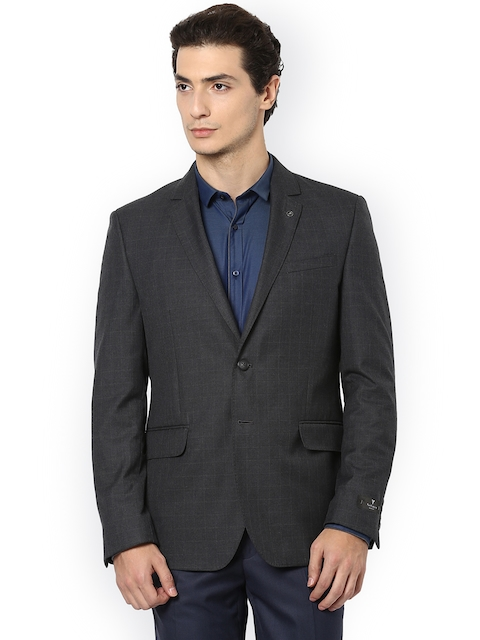 Van Heusen Charcoal Grey Self-Checked Single-Breasted Slim Fit Formal Blazer