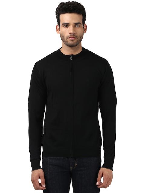Raymond Men Black Solid Front-Open Sweater