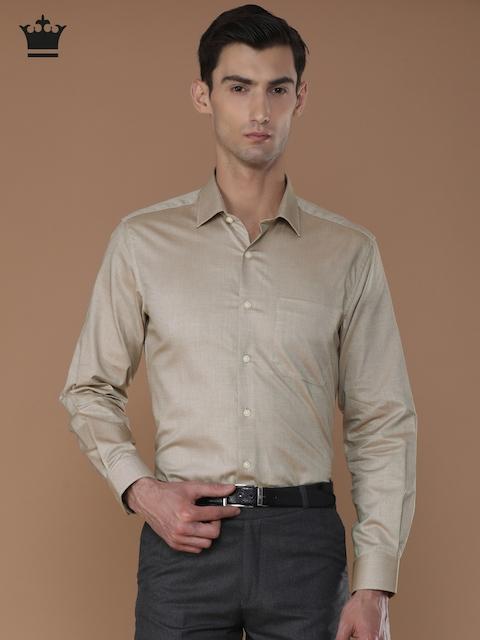 Louis Philippe Men Beige Slim Fit Self Design Formal Shirt