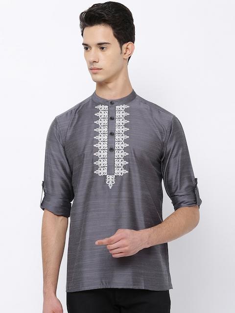 Svanik Men Grey Embroidered Straight Kurta