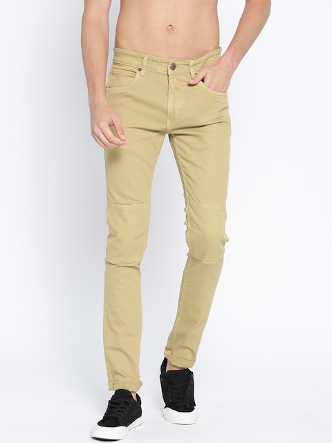 Roadster Men Beige Skinny Fit Mid-Rise Clean Look Stretchable Jeans