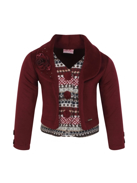CUTECUMBER Girls Maroon Printed Layered Short Coat