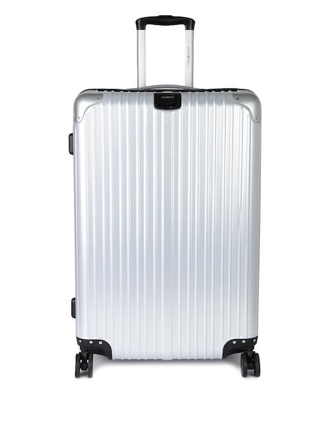 Swiss Eagle Unisex Silver-Toned 24 Inch Medium Trolley Suitcase