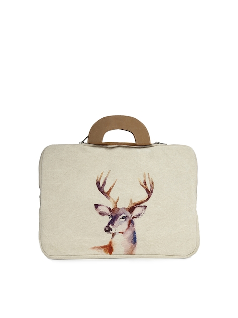 COTT N CURLS Unisex Off-White & Beige Printed Laptop Sleeve