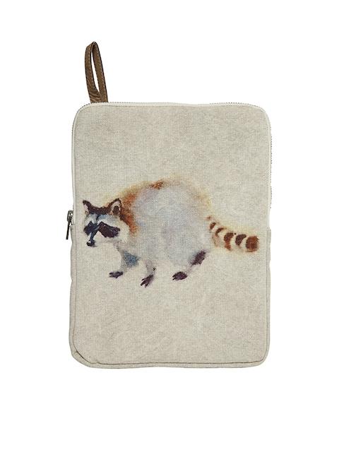 COTT N CURLS Unisex Beige & Off Vintage Raccoon Tablet Sleeve