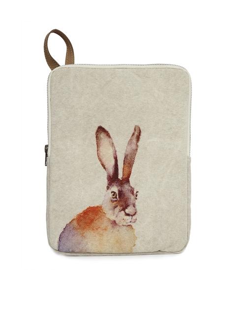 COTT N CURLS Unisex Beige & Off  Vintage Rabbit Tablet Sleeve