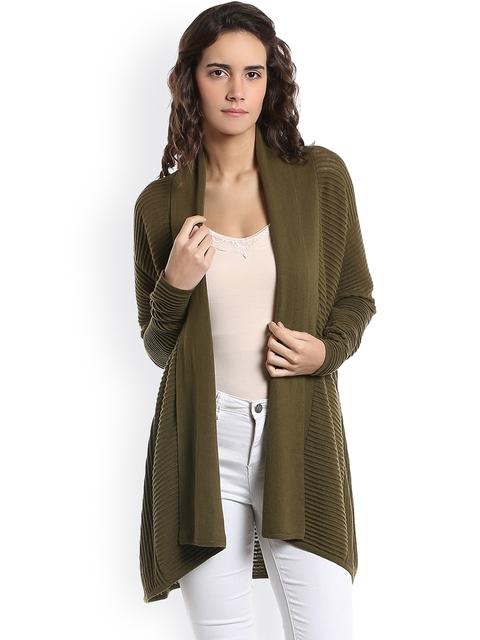 Vero Moda Women Olive Green Solid Cardigan
