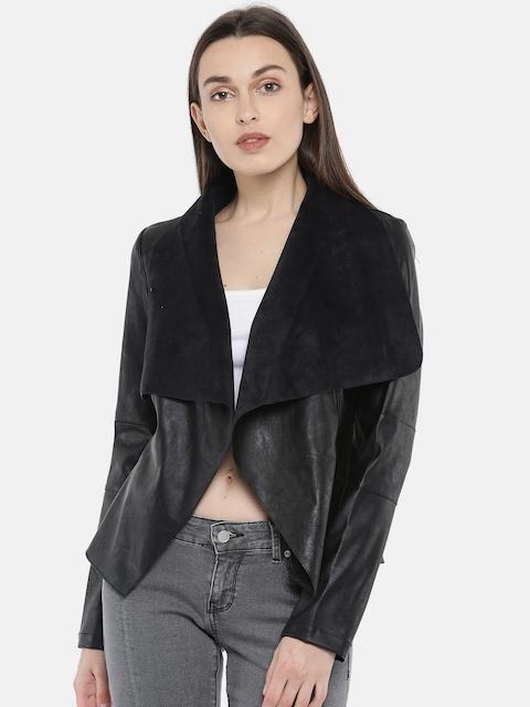 Vero Moda Women Black Solid Open Front Jacket
