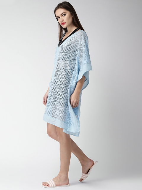 Mast & Harbour Women Blue Self-Design Sheer Kaftan Cover-Up Dress MH-W-SS18