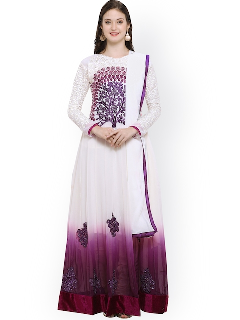 Satrani Off-White & Purple Silk Georgette Semi-Stitched Dress Material