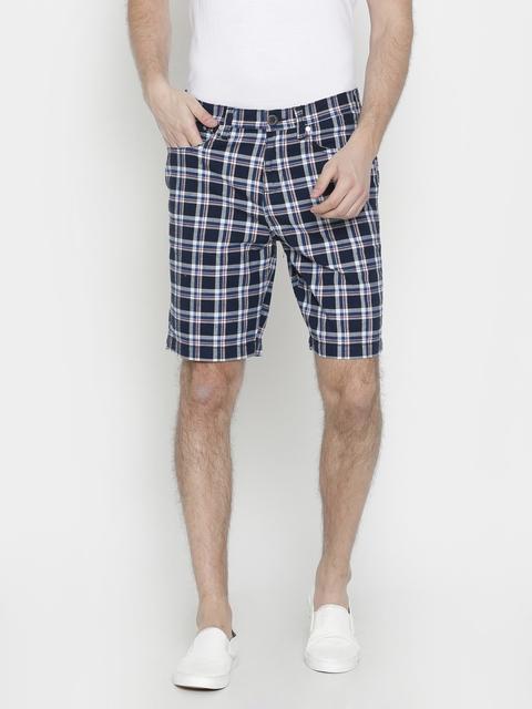 Wrangler Men Blue Checked Slim Fit Regular Shorts