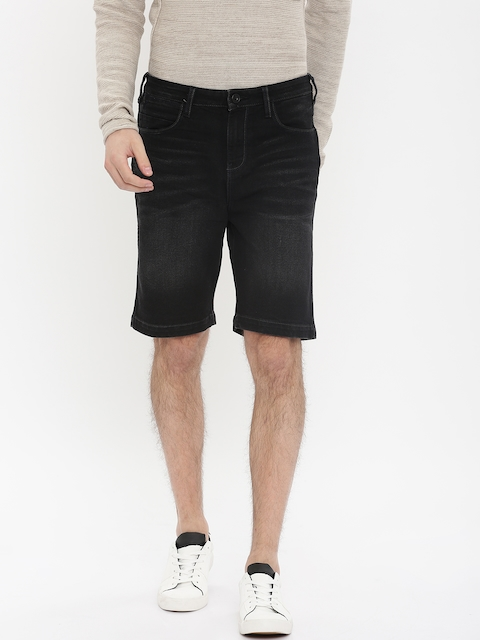 Wrangler Men Black Solid Slim Fit Denim Shorts