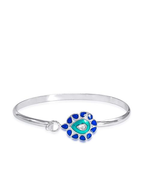 Taraash Silver-Toned Sterling Silver Bangle-Style Bracelet