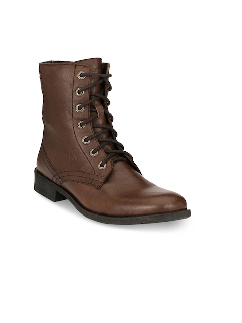Alberto Torresi Men Brown Solid Leather High-Top Flat Boots