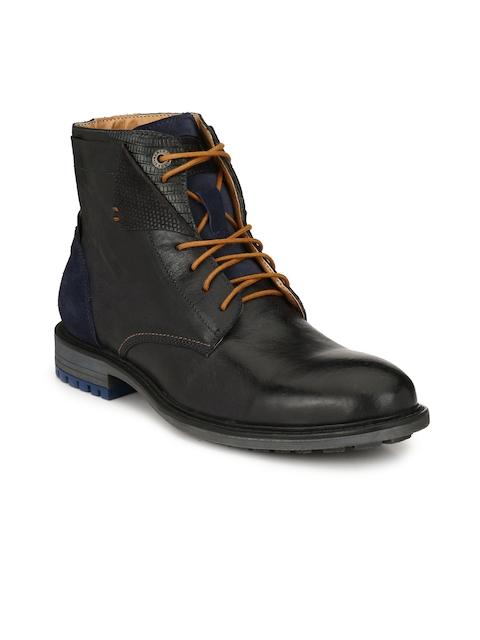Alberto Torresi Men Blue & Black Solid Leather Mid-Top Flat Boots