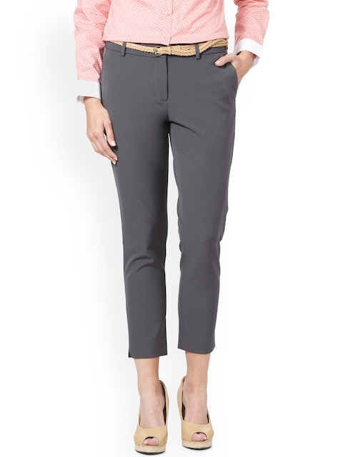 Allen Solly Woman Women Grey Regular Fit Solid Chinos