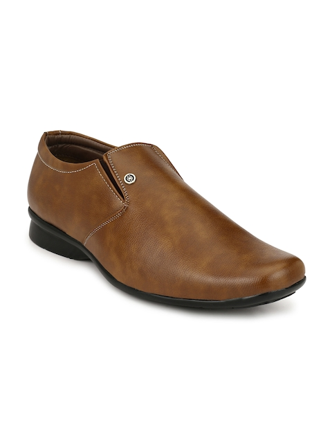 John Karsun Men Tan Brown Slip-On Formal Shoes