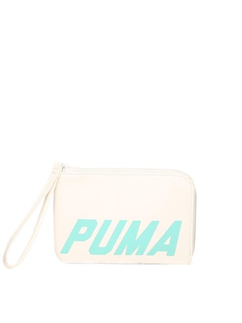 Puma Women Off-White Printed Zip Around Wallet