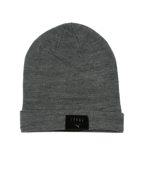 Puma Unisex Grey Solid Layered Beanie
