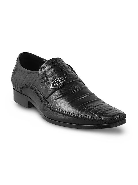J.FONTINI Men Black Leather Formal Shoes