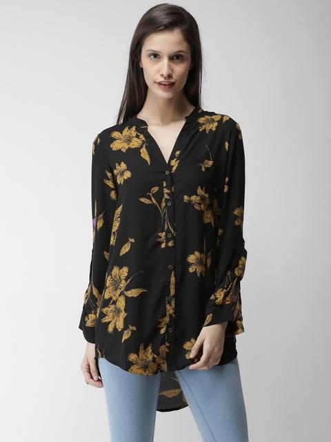 FOREVER 21 Women Black Regular Fit Printed Casual Shirt