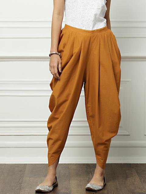 all about youfrom Deepika Padukone Women Rust Orange Regular Fit Solid Jodhpuris