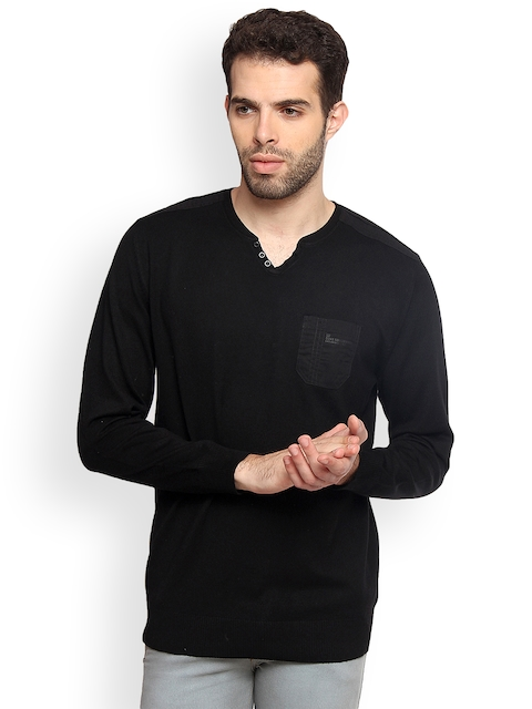 Duke Men Black Solid Pullover
