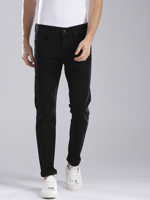 Levis Men Black Slim Fit Mid-Rise Clean Look Stretchable Jeans