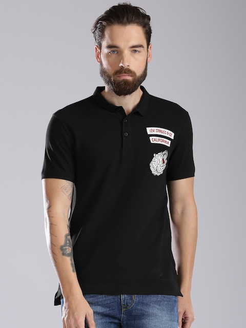 Levis Men Black Solid Polo Collar T-shirt