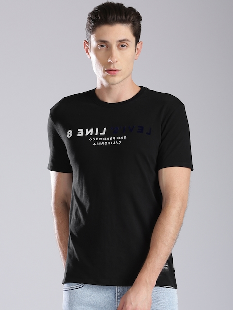 Levis Men Black Printed Round Neck T-shirt